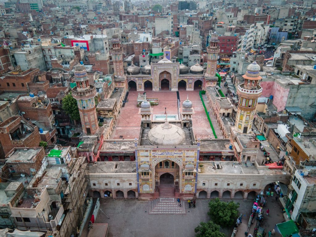 old lahore drone shot