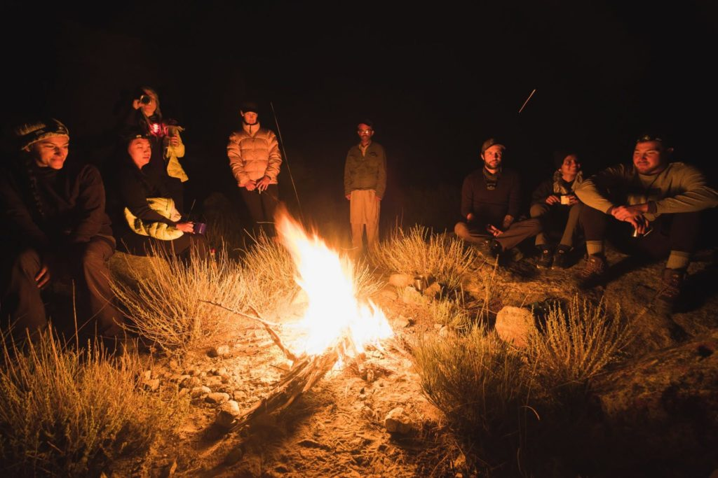 bonfire in pakistan with group of friends