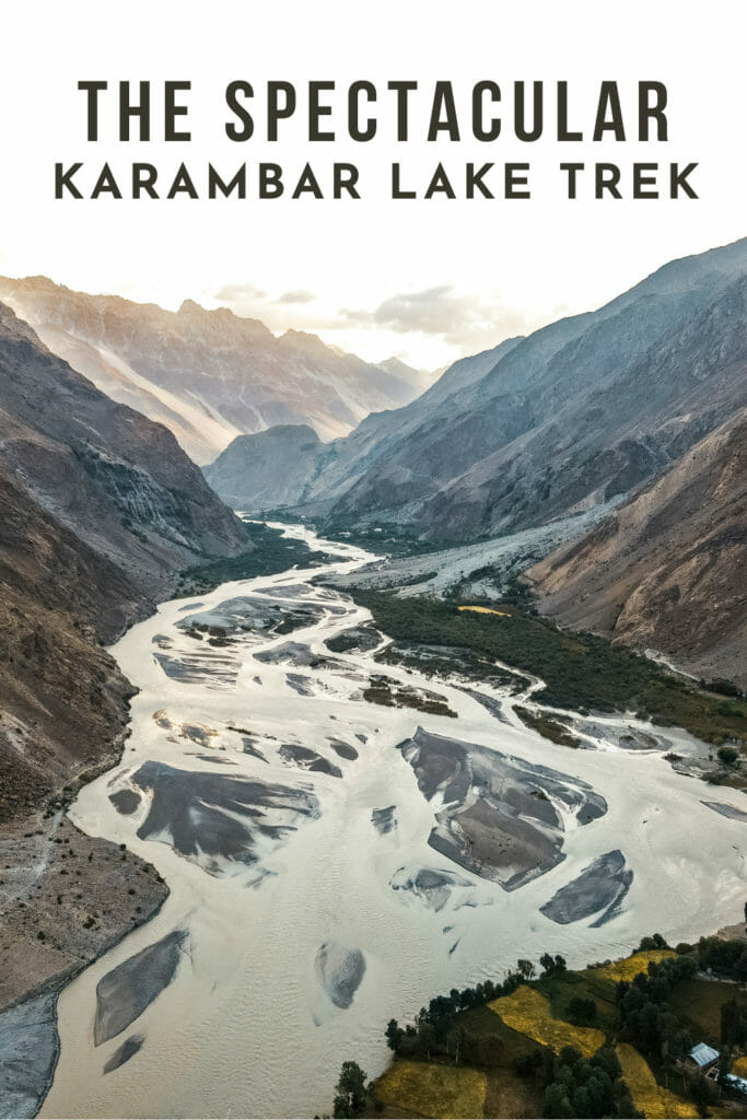 the Karambar Lake Trek, Pakistan viewed as a Drone