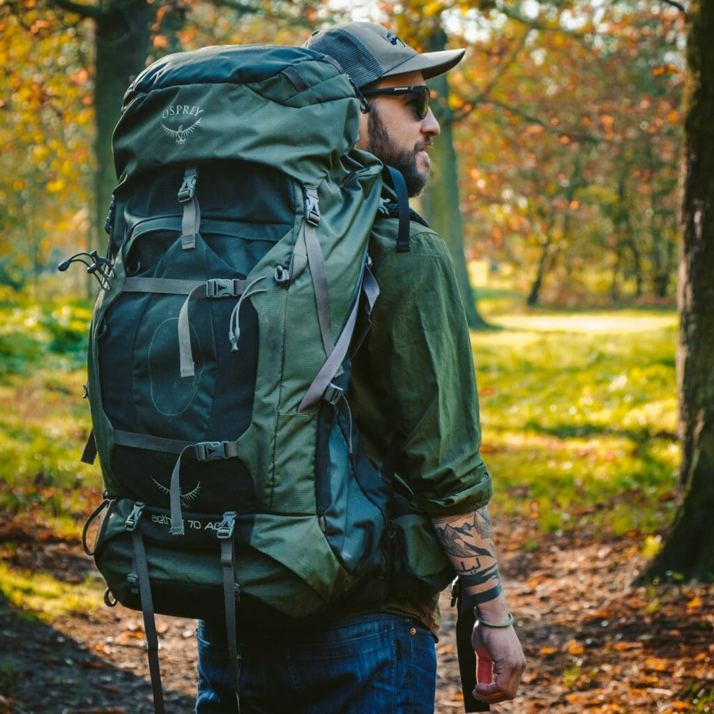 green osprey travel backpack