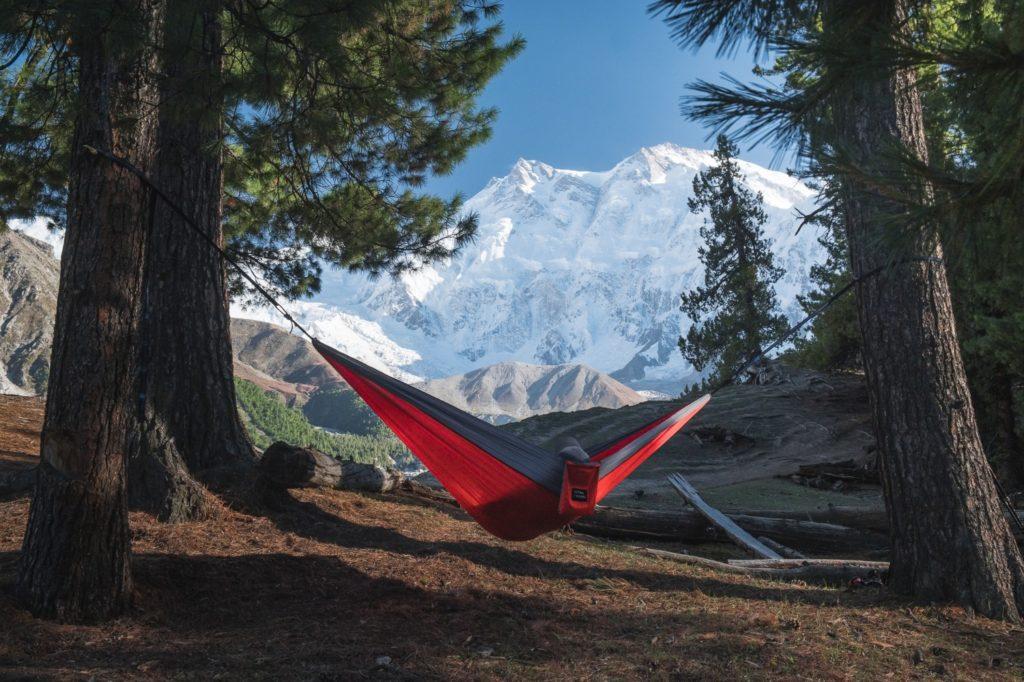 relaxing in hammock at fairy meadows